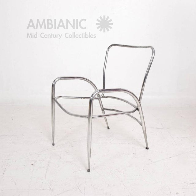 Silver Pair of Sculptural Brown Jordan Aluminum Patio Chairs After Walter Lamb For Sale - Image 8 of 10