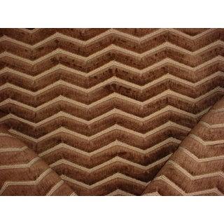 14-3/4 Kravet Couture 32312 Zig Zag Plush Umber Velvet Upholstery Fabric For Sale
