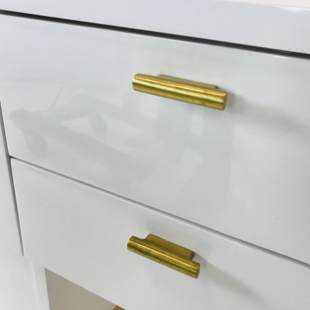 Metal Lacquered T-Console/Sideboard With Brass Accents For Sale - Image 7 of 8