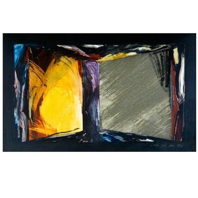 This graphic and appealing abstract mixed media work by Laddie John Dill (b. 1943) is an untitled work from 1981. Signed...