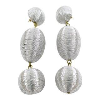 Oversized Dangle Silver Metallic Thread Pierced Earrings For Sale