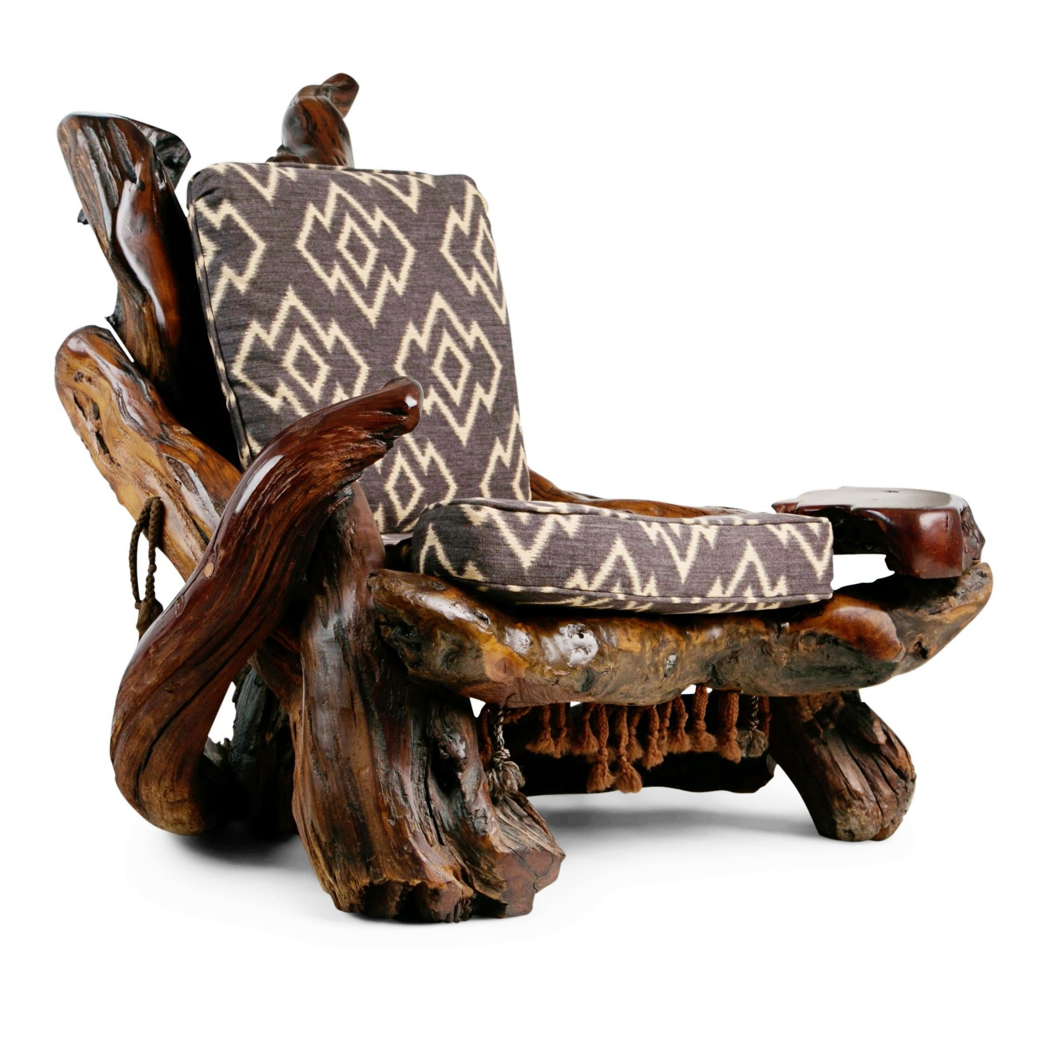 Extraordinary Artisan Sculptural Root Wood Armchair Handcrafted From  Naturally Free Formed Burl Redwood Which Has