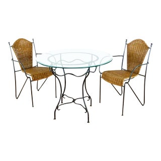 Wrought Iron Table & Woven Chairs Bistro Set