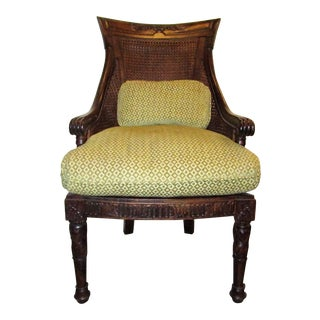 Early 20th Century Vintage Double Caned Curved Back Accent Side Chair For Sale