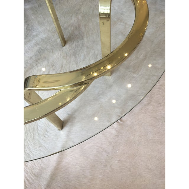 1970s Interlocking Brass and Glass Round Cocktail Table For Sale - Image 5 of 11