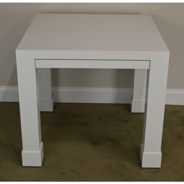 White Lacquer Mid Century Square Parsons Game Table For Sale In Philadelphia - Image 6 of 12