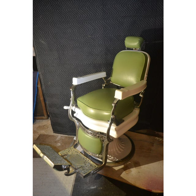 Green Vintage Grand Central Terminal Koken Barber Chair For Sale - Image 8 of 8