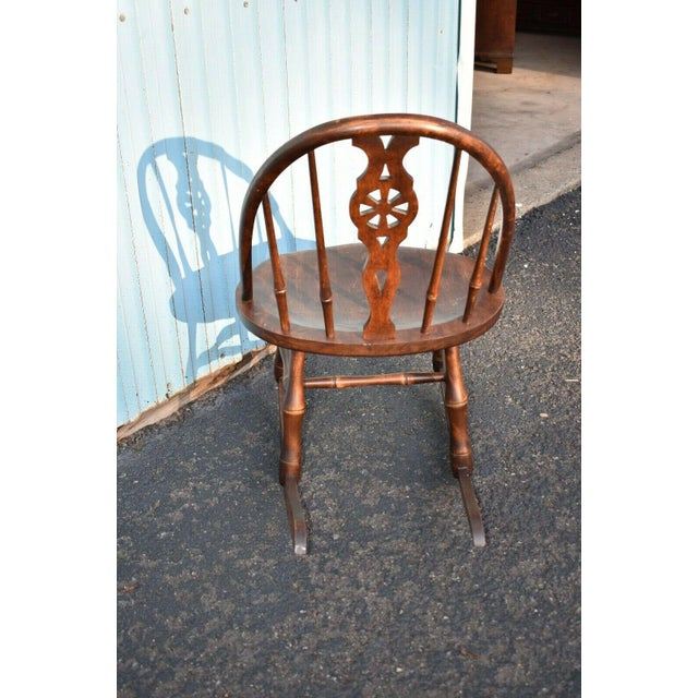 Antique Primitive Windsor Style Child's Rocker Rocking Chair For Sale - Image 4 of 7