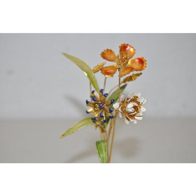 Gorham Sterling & Enamel Flower Arrangement Figure - Image 4 of 7