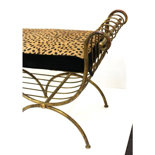 Mid Century Modern Italian Bench in Gilt Iron & Faux Leopard Leather Seat For Sale - Image 4 of 12