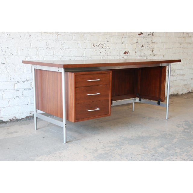 Jens Risom Mid-Century Modern Executive Desk in Walnut, Cane, and Steel For Sale - Image 13 of 13