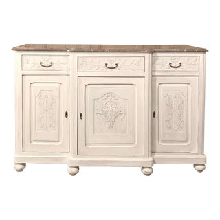 Antique French Louis XVI Painted Marble Top Buffet For Sale