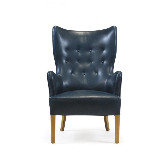 1946 Ole Wanscher for Fritz Hansen Highback Chair in Teal Leather For Sale - Image 10 of 10