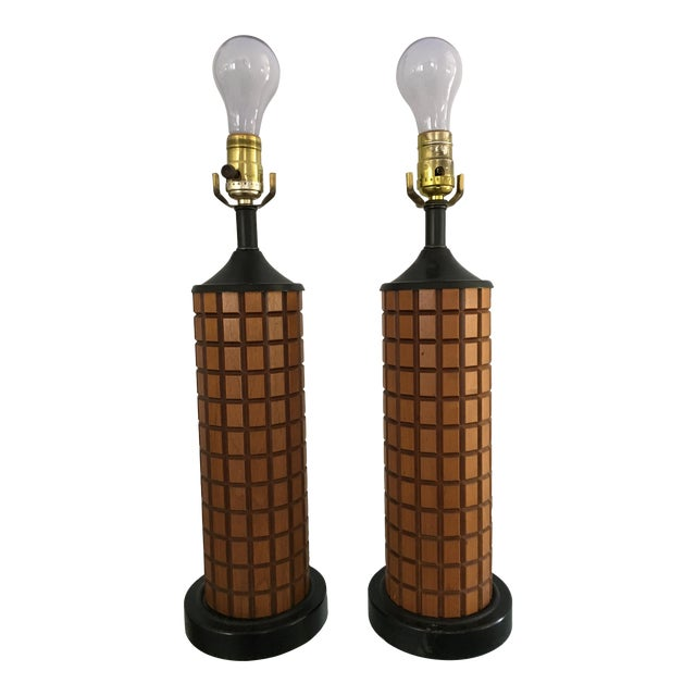 Mid-Century Wood Table Lamps - A Pair - Image 1 of 3