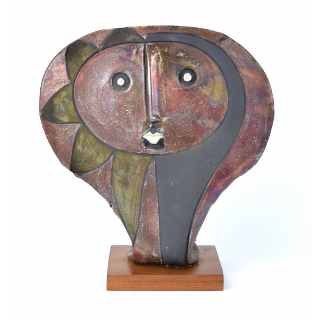 Red 1980s Doug Delind Picasso-Like Abstracted Face Art Pottery Sculpture For Sale - Image 8 of 8