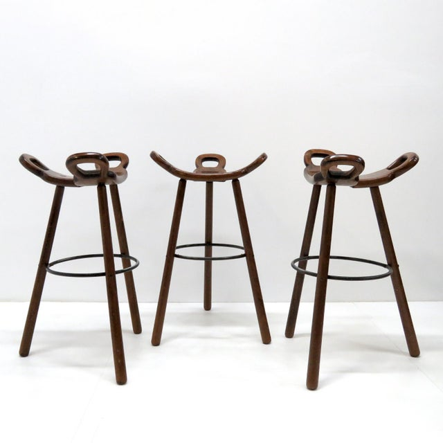 "Metal 1970s Vintage Confonorm Brutalist ""Marbella"" Bar Stools- Set of 3 For Sale - Image 7 of 11"