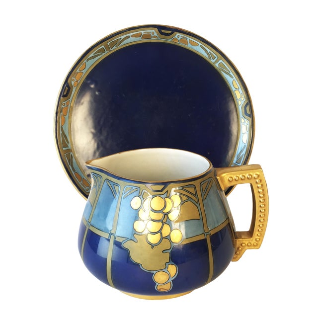 20th Century French Jean Pouyat Limoges Hand-Painted Pitcher and Tray - 2 Pieces For Sale