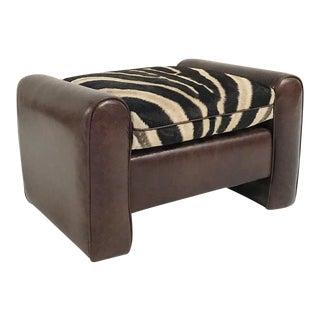 Restored Vintage Leather & Zebra Hide Cushion Ottoman For Sale