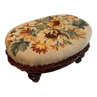 Vintage Floral Needlepoint William and Mary Style Oval Footstool For Sale