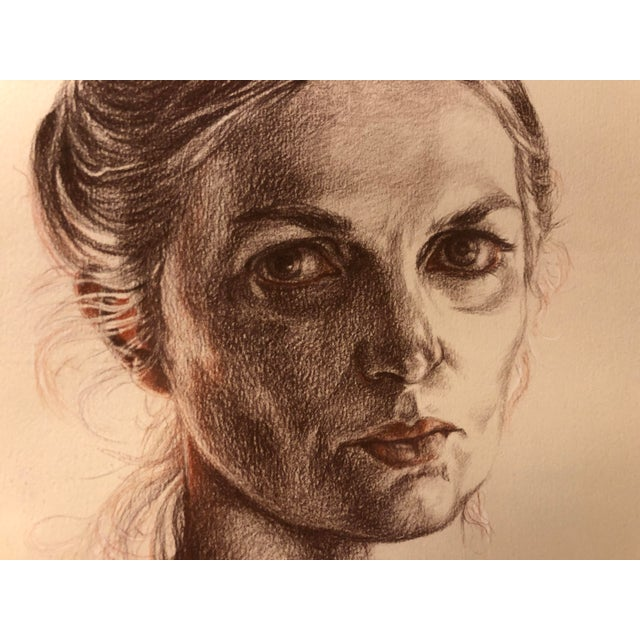 1981 Jill Cannady Self-Portrait Charcoal Drawing For Sale - Image 4 of 8