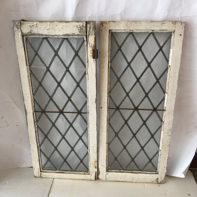 Metal 1920s Antique Upstate New York Leaded Glass Window Panels- a Pair For Sale - Image 7 of 7