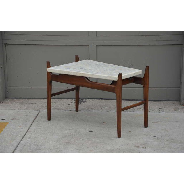 Rare trapeze terrazzo side table by Harvey Probber. Great combination of wood and stone. Cantilevered top. Stone surface...