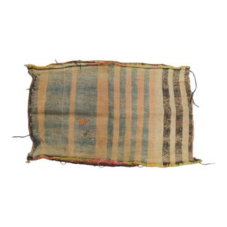 "Vintage Light Orange and Brown Stripe Kilim ""Mafrash"" Grain Sack Fragment For Sale"