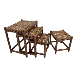 1980s Rustic Modern McGuire Rattan and Laced Leather Nesting Tables or Stools - Set of 4 For Sale