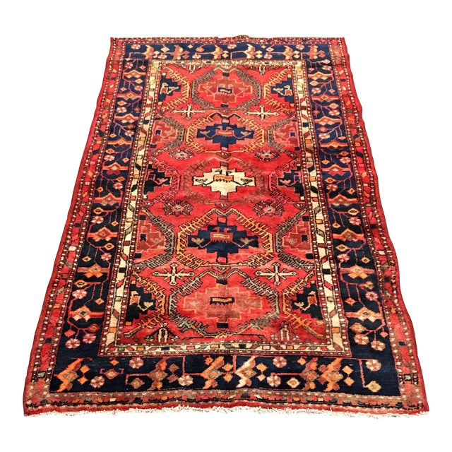 Hand Woven Wool Persian Rug - 4′3″ × 7′ For Sale