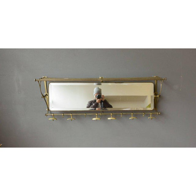 Brass Coat Rack With Mirror and Hooks - Image 8 of 9
