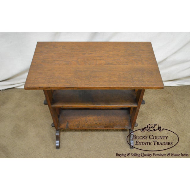 """Roycroft """"The Roycrofters"""" Arts & Crafts Mission Oak Little Journeys Book Stand For Sale In Philadelphia - Image 6 of 13"""