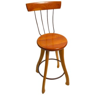 Ax Handle Stool by Brad Smith With Pitch Fork Backrest For Sale