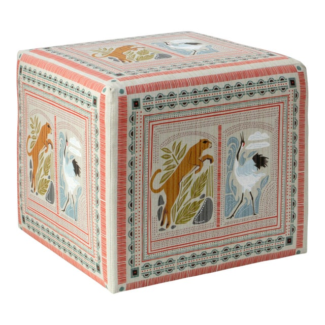 Textile Cube Ottoman in Fauna Multi For Sale - Image 7 of 7