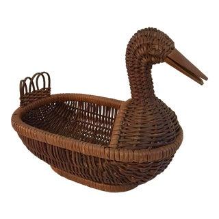 Vintage Wicker Duck Basket For Sale