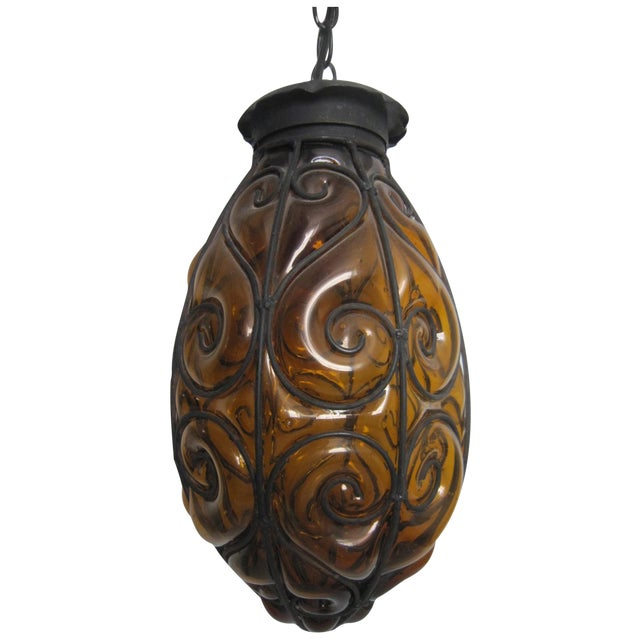 Italian Encased Amber Glass Pendant - Image 1 of 5