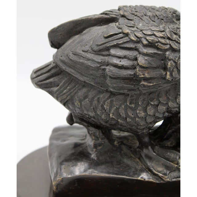 Art Deco 1950s Vintage Bronze Waterfowl Sculpture For Sale - Image 3 of 13