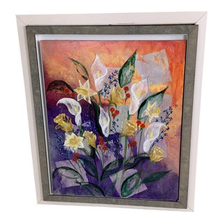 1990s Heather Duncan Calla Bouquet Painting For Sale