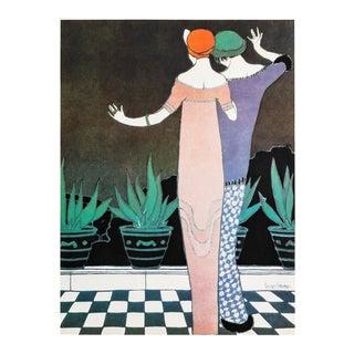 1981 French Fashion Poster, Histoire De La Mode Et Du Tissu, Georges Lepape For Sale