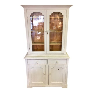 1940s French Country Gray Pine Hutch Cabinet With Glass Doors For Sale