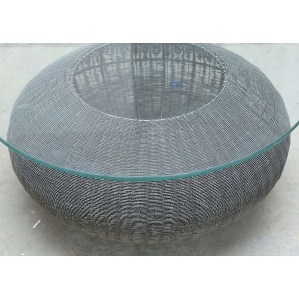 Glass Mid-Century Modern Style Wire Weave Glass Table For Sale - Image 7 of 8
