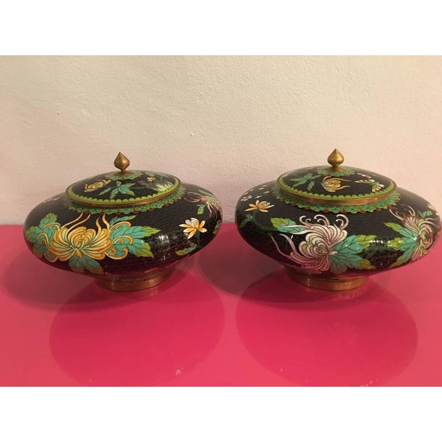 Gold Vintage Cloisonné Lidded Jars - A Pair For Sale - Image 8 of 11