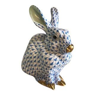 Herend Blue Fishnet Green Eared Rabbit Figurine