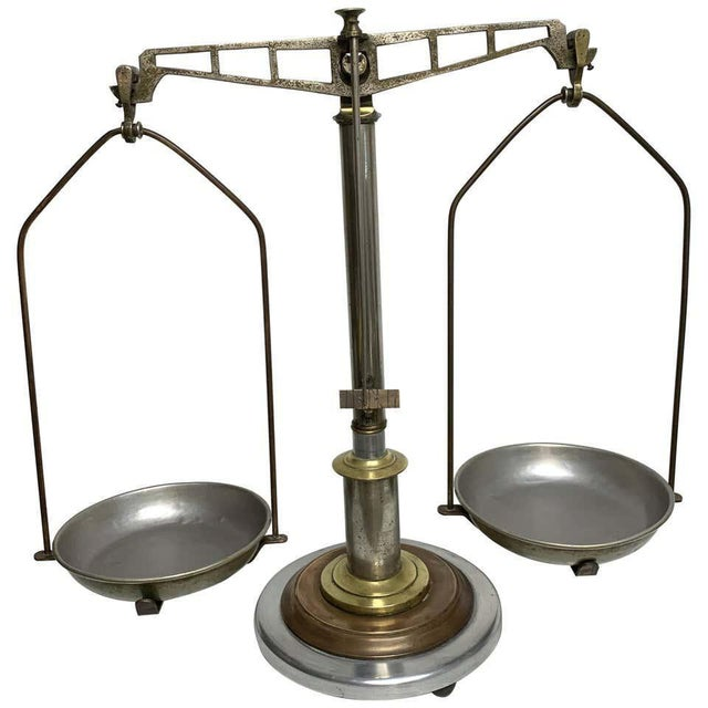 Antique Italian Mixed Metal Fruit Scale For Sale - Image 13 of 13