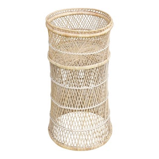 1970s Wicker Plant Stand For Sale