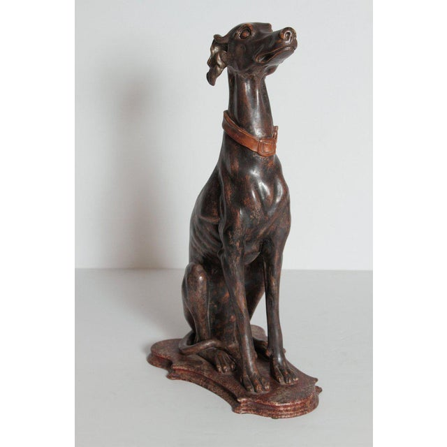 19th Century Italian Carved Wood Seated Greyhound Sculpture For Sale - Image 9 of 13
