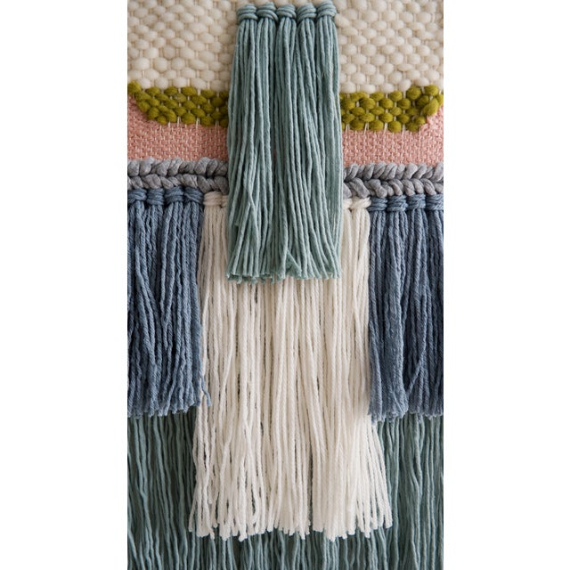 Handwoven Pink Blue & Green Wall Hanging - Image 3 of 3