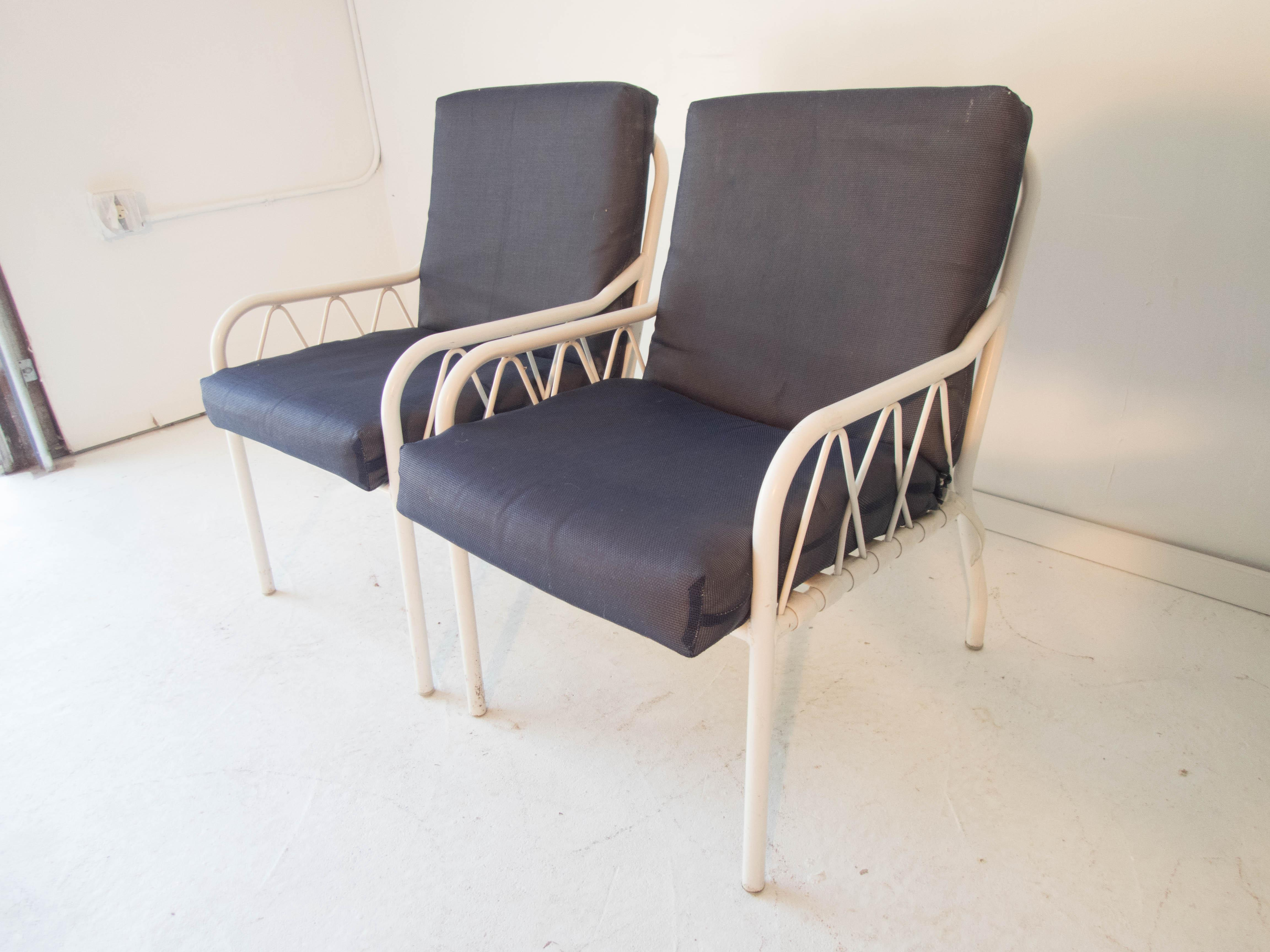 Vintage Late Modern Blue U0026 White Resilient Outdoor Vinyl Fabric Club Chairs    A Pair