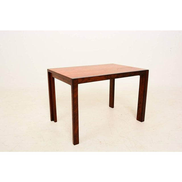 Mid Century Danish Modern Solid Rosewood & Mahogany Side Table For Sale - Image 4 of 6