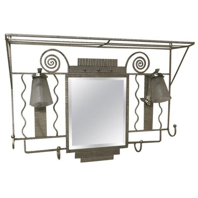 French Art Deco Hanging Coat Rack With Pair of Signed Muller Frères Sconces For Sale - Image 13 of 13