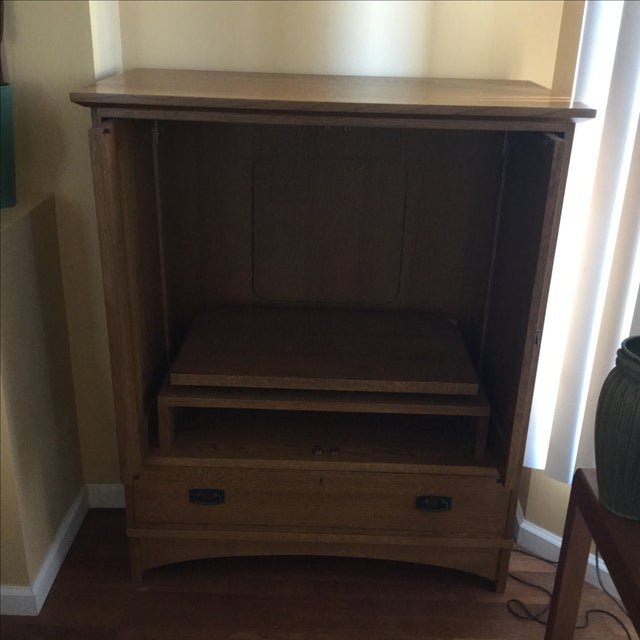 Stickley Mission Style Entertainment Armoire - Image 7 of 9